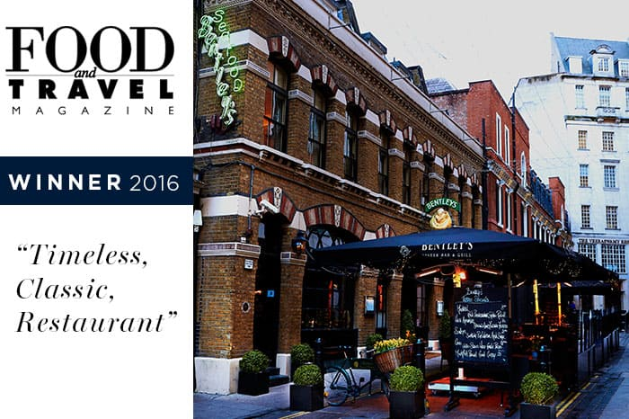 Bentley's Oyster Bar & Grill Wins Food & Travel Magazine 2016 – 'Timeless Classic' Award