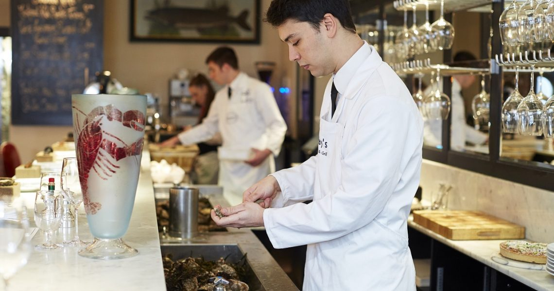 The Oyster Bar at Bentley's has been a fixture in the West End for over 105 years.